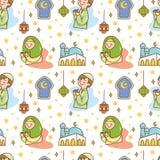 Het leuke naadloze patroon van de Ramadankrabbel royalty-vrije illustratie