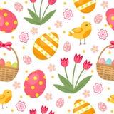 Het leuke naadloze patroon van Pasen met eieren in mand, vogels en bloemen Eindeloze de Lenteachtergrond, textuur, digitaal docum Royalty-vrije Stock Foto's