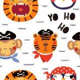 Het leuke naadloze patroon van piraatdieren stock illustratie