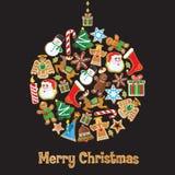 Het leuke Ornament van Kerstmis van het Koekje Stock Afbeeldingen