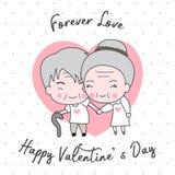 Het leuke oude paar verfraaide de gelukkige kaart van de valentijnskaart` s dag stock afbeelding