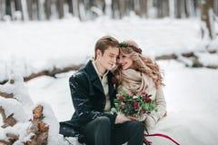 Het leuke paar in liefde met een boeket zit op de openings van een sessieachtergrond van het de winter boskunstwerk royalty-vrije stock afbeelding