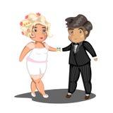 Het leuke paar van het beeldverhaalhuwelijk Royalty-vrije Stock Afbeelding