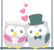 Het leuke paar van huwelijksuilen stock illustratie