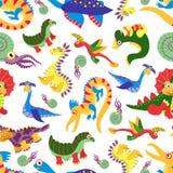 Het leuke patroon van babydinosaurus De Jura roofdier vectorachtergrond van het dinosaurusbeeldverhaal Stock Afbeelding