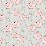 Het leuke patroon van kleurenolifanten Vector eenvoudige naadloze achtergrond voor jonge geitjes stock illustratie