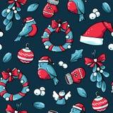 Het leuke patroon van krabbelkerstmis Vectorhand getrokken illustratie van Kerstmanhoed, engel, vuisthandschoenen, goudvink, kroo vector illustratie