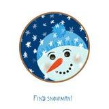 Het leuke pictogram van de Kerstmissneeuwman op witte achtergrond voor decoratieontwerp, groetkaart, wintertijd feestelijke etike Stock Foto's