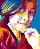 Het leuke portret van het meisjes vectorpop-art Stock Foto