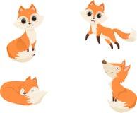 Het leuke rode vosbeeldverhaal in divers stelt Illustratie vector illustratie