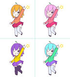Het leuke roze meisje die van animechibi reeks richten Stock Foto's