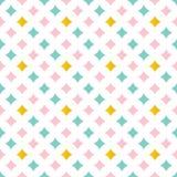 Het leuke roze, munt groene en gouden abstracte diamanten, vonkt naadloze patroonachtergrond Royalty-vrije Stock Afbeelding