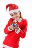 Het leuke santa uiterst kleine giften glimlachen Stock Afbeelding