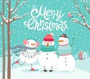 Het leuke sneeuwmannen koesteren Vrolijke Kerstkaart royalty-vrije illustratie