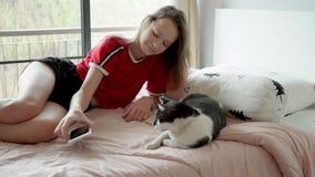 Het leuke tienermeisje met roze haarspelen met kat op bed, dan neemt telefoon stock video