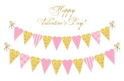 Het leuke uitstekende gevormde hart schittert en sjofele elegante stijlbunting markeert ideaal voor Valentijnskaarten Dag enz. stock illustratie