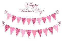 Het leuke uitstekende gevormde hart schittert en sjofele elegante stijlbunting markeert ideaal voor Valentijnskaarten Dag enz. vector illustratie