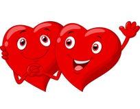 Het leuke Valentine-beeldverhaal van het hartenpaar Stock Foto's