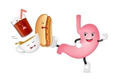 Het leuke van de het karakteraanval van de beeldverhaalmaag zuurrijke voedsel en de drank, koffie, hotdog en frisdrank stock illustratie