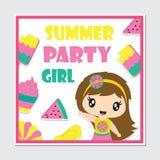 Het leuke van de strandmeisje en zomer vectorbeeldverhaal van het elementenkader royalty-vrije illustratie