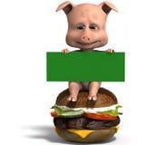 Het leuke varken van Toon nodigt aan een hamburgerpartij uit Royalty-vrije Stock Foto