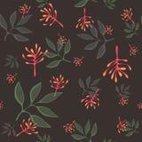 Het leuke vector naadloze patroon van het krabbelblad Abstracte druk met bladeren Elegant mooi aardornament voor stof royalty-vrije illustratie