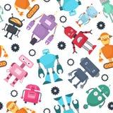 Het leuke vector naadloze patroon van robots futuristische jonge geitjes vector illustratie