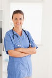 Het leuke verpleegster stellen Stock Afbeeldingen