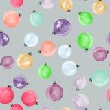 Het leuke verschillende kleurrijke decoratieve naadloze patroon van Kerstmisballen Royalty-vrije Stock Afbeelding