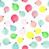 Het leuke verschillende kleurrijke decoratieve naadloze patroon van Kerstmisballen Stock Afbeeldingen