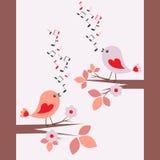 Het leuke vogels zingen Royalty-vrije Stock Afbeeldingen