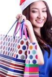 Het leuke vrouw winkelen Royalty-vrije Stock Afbeeldingen