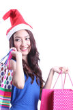Het leuke vrouw winkelen Stock Foto's