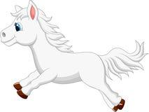 Het leuke witte het beeldverhaal van het poneypaard lopen Stock Foto