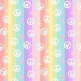 Het leuke witte vredessymbool met madeliefje bloeit op het patroon van regenboog kleurrijke strepen naadloze illustratie als acht stock illustratie