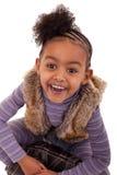 Het leuke zwarte meisje glimlachen Stock Fotografie