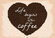 Het leven begint na koffie Stock Foto's