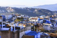 Het leven in Chefchaouen Medina in Marokko royalty-vrije stock foto