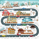 Het leven in de voorsteden - de winter Royalty-vrije Stock Foto