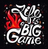 Het leven is een groot spel Hand getrokken uitstekende illustratie met hand-van letters voorziet Royalty-vrije Stock Afbeeldingen
