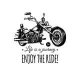 Het leven is een reis, geniet van de rit inspirational affiche Vectorhand getrokken bijl voor MC etiket Motorfietsillustratie vector illustratie