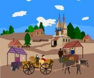 Het leven in een Russisch dorp, eigenschappen van de Russische markt royalty-vrije illustratie