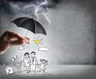 Het leven en familieverzekering - veiligheidsconcept Stock Foto