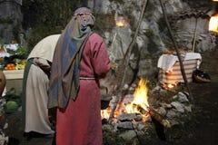 Het leven geboorte van Christusscène op Genga, Italië royalty-vrije stock afbeeldingen