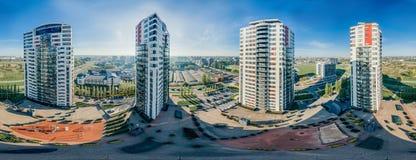 Het leven huizen in stad 360 van Riga VR-Hommelbeeld voor Virtuele werkelijkheid, Panorama Royalty-vrije Stock Afbeelding