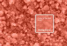 Het leven koraalkleur van het Jaar 2019 Bokehachtergrond met koraal in in kleur royalty-vrije stock foto