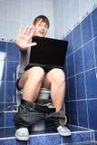 Het leven met laptop stock foto's