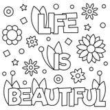 Het leven is mooi Kleurende pagina Vector illustratie Royalty-vrije Stock Afbeeldingen