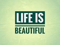 Het leven is mooie lijn op een lite groene achtergrond royalty-vrije illustratie