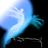 Het leven na dood en het verdere leven Het kiezen tussen Samsara of Nirvana royalty-vrije illustratie